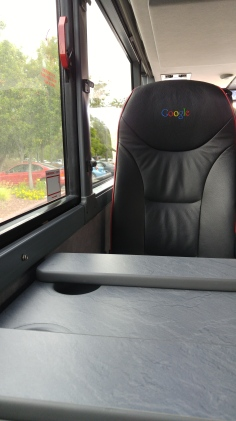 A seat inside the Google Bus - yes, there are tables