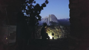 Half dome at night.